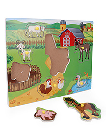 Anindita Wooden Puzzle Farm Animals With Environment - Multi Color