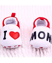 Wow Kiddos I Love Mom Soft Sole Booties - Red & White