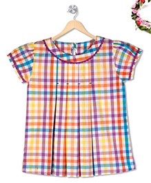 Budding Bees Checkered Printed Top - Multicolour