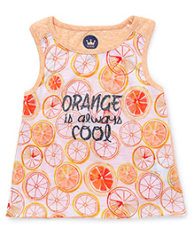 Vitamins Sleeveless Tee Orange Print - Salmon Buff