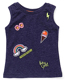 Vitamins Sleeveless Tee Rainbow Print - Navy