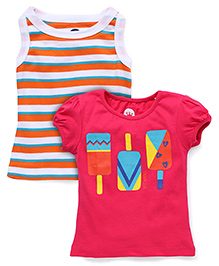 Vitamins Printed Top Set of 2 - Orange Pink
