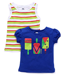 Vitamins Printed Top Set of 2 - Green Blue