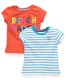 Vitamins Short Sleeves Tee Striped And Printed Set Of 2 - Orange Blue