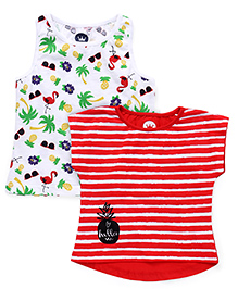 Vitamins Printed Top Set of 2 - Red White