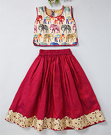 Mom'S Girl Elephant Printed Blouse With Flared Lehenga & Lace Embroidery At Bottom - Maroon