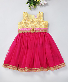 Mom'S Girl Fit & Flare Semi Butterfly Design Dress With A Rose Applique - Pink