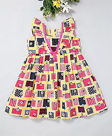 Mom'S Girl Multi Printed Dress With Bow Applique - Yellow