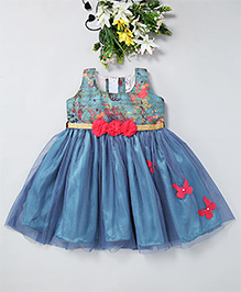Mom'S Girl Fit & Flare Dress With Butterfly Applique - Blue