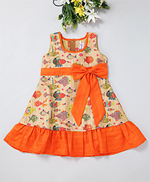 Mom'S Girl A-Line Multi Fish Printed Dress With Bow And Ribbon At Waist - Orange