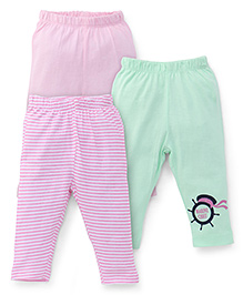 Ohms Multi Print Leggings Pack of 3 - Pink Green