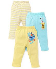Ohms Multi Print Leggings Pack of 3 - Yellow Blue