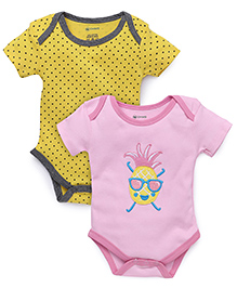 Ohms Half Sleeves Onesies Polka Dots Print Pack Of 2 - Yellow And Pink