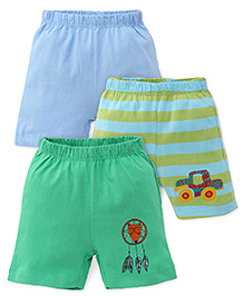 Ohms Shorts Pack Of 3 - Green & Blue