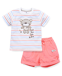 ToffyHouse Half Sleeves Teddy Patched T-Shirt And Shorts Set - Off White Peach