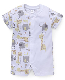 ToffyHouse Half Sleeves Elephant And Giraffe Printed Romper - Off White