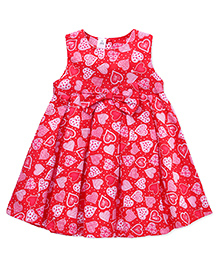 ToffyHouse Sleeveless Frock Printed With Bow Applique - Red