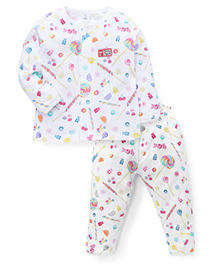 ToffyHouse Full Sleeves Night Suit Candies Print - White