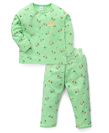 ToffyHouse Full Sleeves Night Suit With Duckling Print - Green