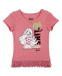 Barbie Shorts Sleeves Top Love Like Crazy Print - Pink