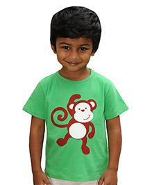 Snowflakes Half Sleeves T-Shirt Monkey Prints - Green