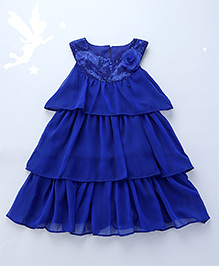 Soul Fairy Layered Dress With Sequins On Neckline - Royal Blue