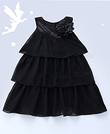 Soul Fairy Layered Dress With Sequins On Neckline - Black