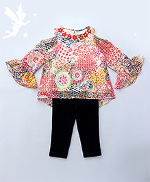 Soul Fairy Floral Printed Cold Shoulder Top With Flowers Attached On Neckline With Leggings - Multicolour & Black