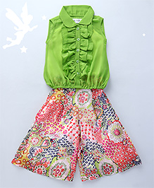 Soul Fairy Ruffled Collar Top With Calf Length Palazzo - Green