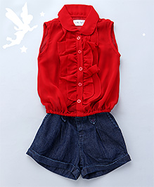 Soul Fairy Ruffled Front Placket With Peter Pan Collar Top With Denim Shorts - Red & Blue