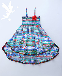 Soul Fairy Goemetric Printed Strappy Dress With Smocking On The Yoke - Blue