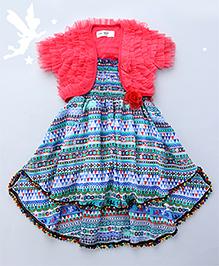 Soul Fairy Goemetric Printed Strappy Dress With Smocking On The Yoke & Ruffled Shrug - Blue