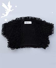 Soul Fairy Short Sleeves Pretty Ruffled Shrug - Black