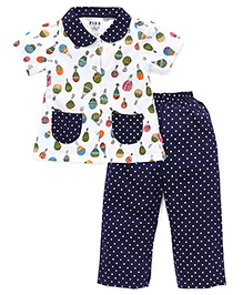 Fido Half Sleeves Night Suit Printed - Navy White