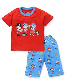 Fido Half Sleeves Night Suit Printed - Red Blue