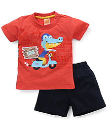 Little Kangaroos Half Sleeves T-Shirt And Shorts Dinosaur Print - Orange Navy Blue