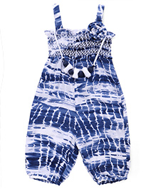Little Kangaroos Singlet Printed Jumpsuit With Necklace Flower Applique - Navy Blue White