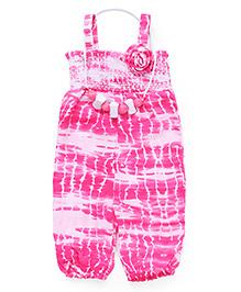 Little Kangaroos Singlet Printed Jumpsuit With Necklace Flower Applique - Pink