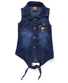 Little Kangaroos Sleeveless Denim Shirt Bead Detailing - Dark Blue