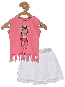 612 League Sleeveless Top Printed With Skirt - Pink White