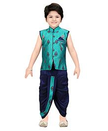 Shree Shubh Brocade Ethnic Dhoti Kurta Set - Blue Green