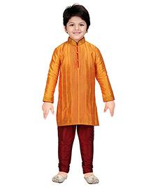 Shree Shubh Ethnic Kurta Pajama Set - Orange Maroon