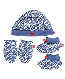 Buzzy Cap Mittens And Booties Set Printed - Blue