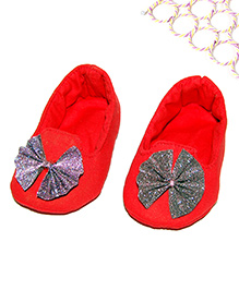 SnugOns Baby Shoes With Glitter Bow Applique - Red