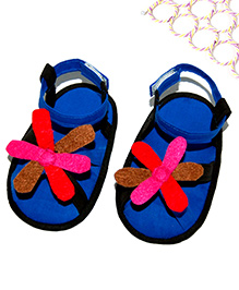 SnugOns Baby Sandals With Multicolour Flower Attached - Dark Blue