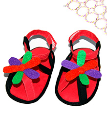 SnugOns Baby Sandals With Multicolour Flower Attached - Pink