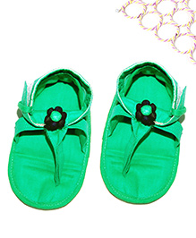 SnugOns Baby Chappals With Flower Attached - Green