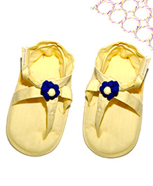 SnugOns Baby Chappals With Flower Attached - Yellow