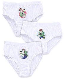 Ben 10 Solid Color With Print Briefs Set Of 3 - White