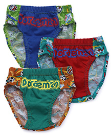 Doraemon Printed Briefs Pack Of 3 - Blue Green Red